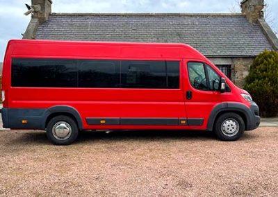 red 17 seater minibus hire